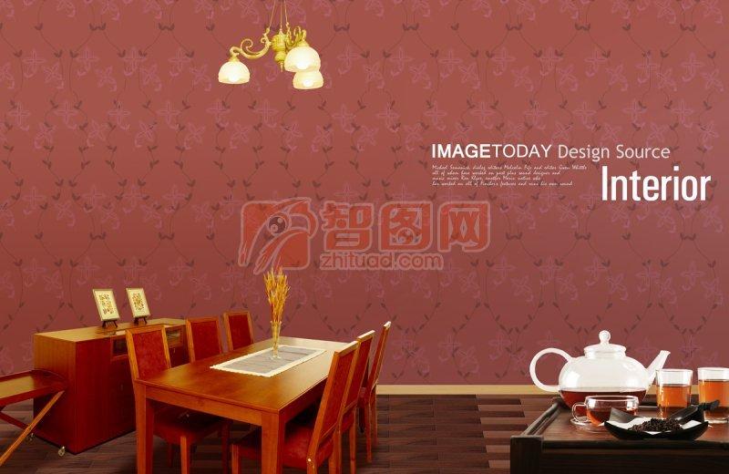 暗红色背景室内设计
