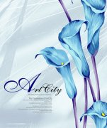 藍色花朵背景圖