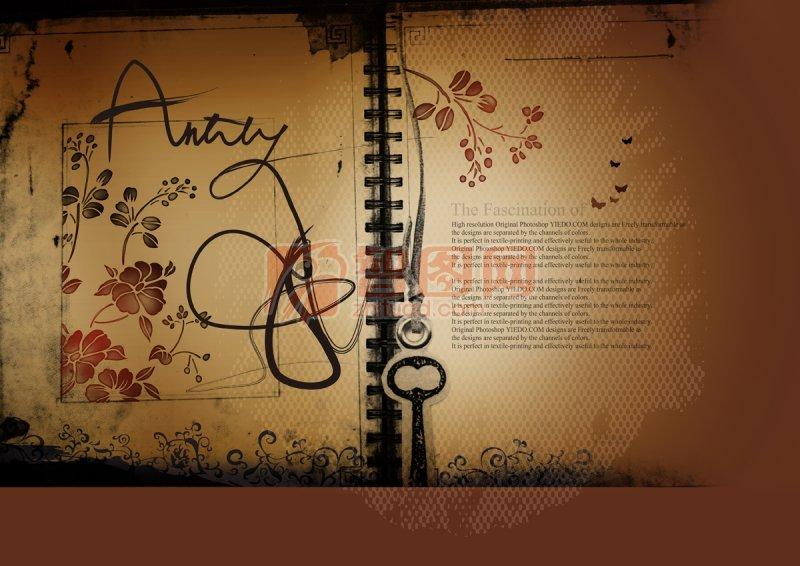 关键词: 复古花纹 花纹素材 复古笔记本 褐色背景 欧式花纹 说明