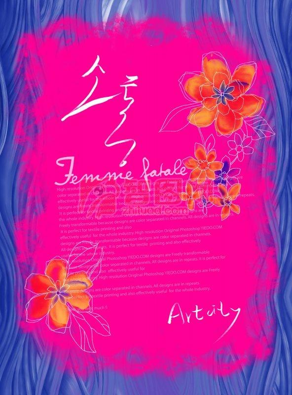 藍紫色抽象花紋