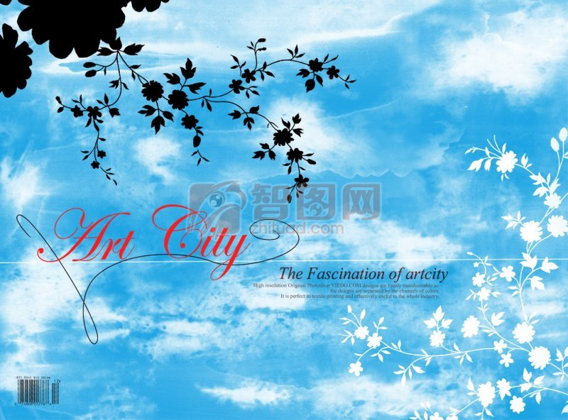 蓝色花纹背景 白色花纹