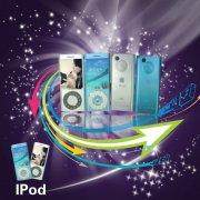 ipod音樂播放器紫色背景海報設計
