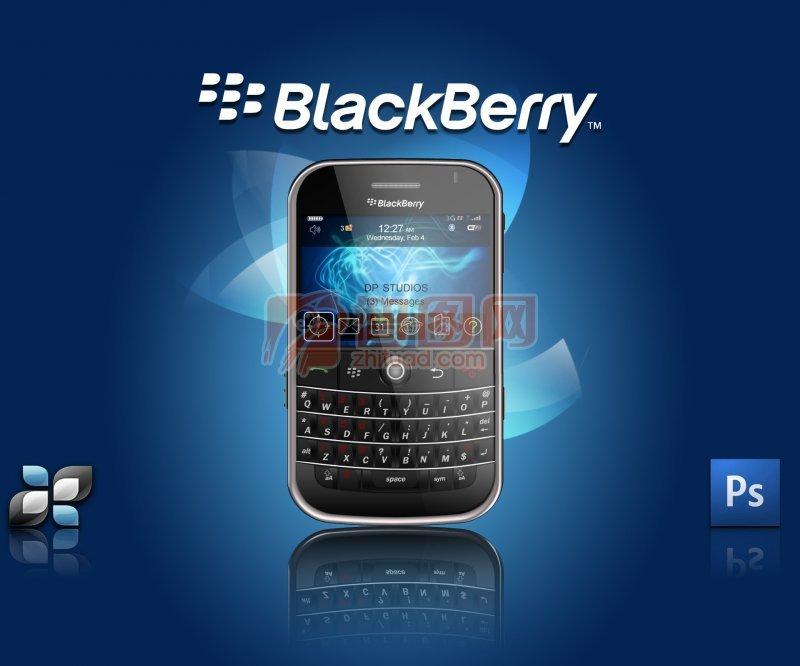 blackberry手機藍色背景海報設計