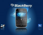 blackberry手機藍色背景海報設計