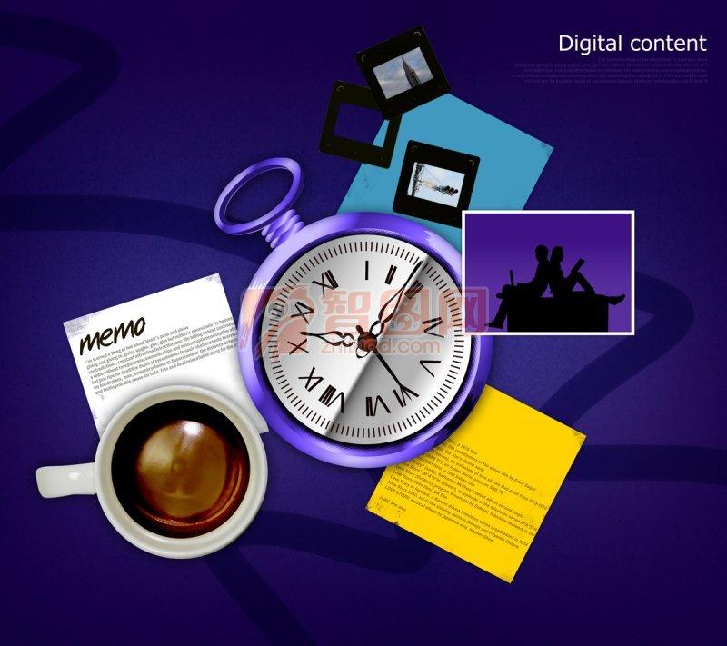 紫色拼組海報