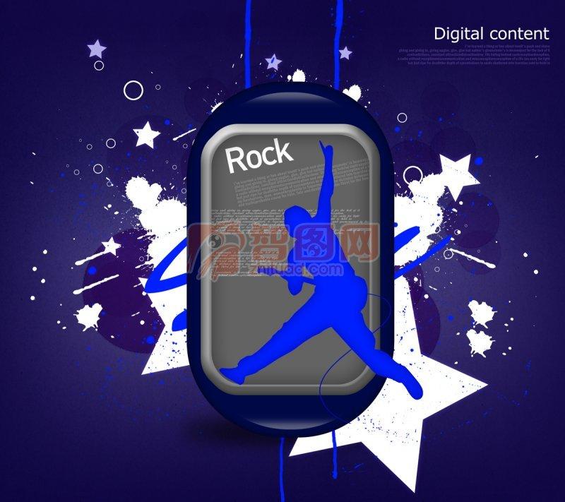 手机 rocker 跳动的拿吉他的男生 欧式花纹元素  关键词: 蓝紫色背景