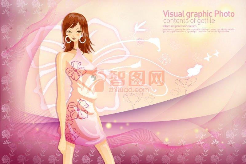 粉红色背景人物设计