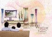 看電視的一家人