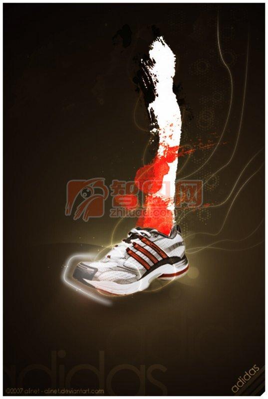 adidas棕黑色背景海報設計