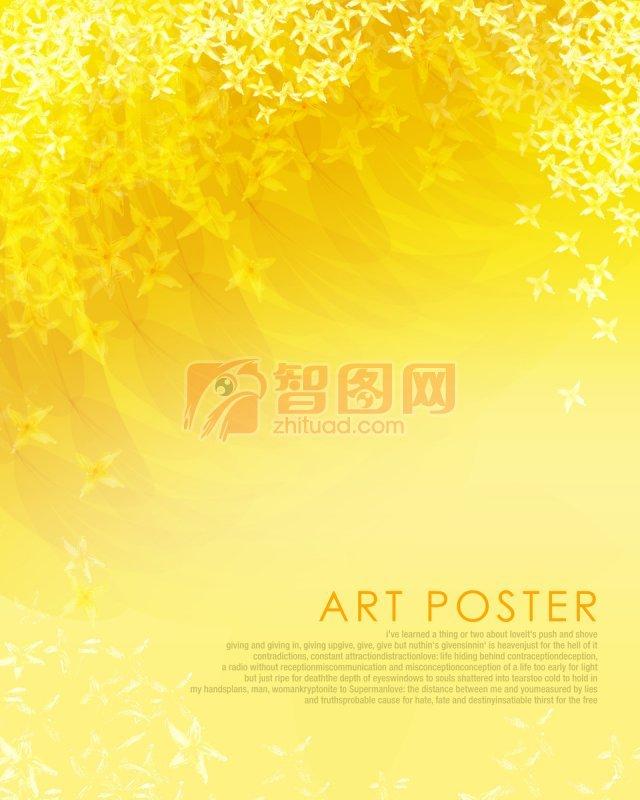 【psd】黄色背景花纹设计