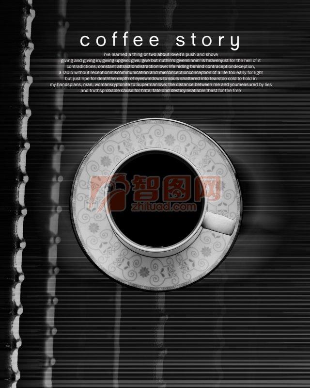 花纹 背景素材 底纹设计 咖啡 杯子 书 黑白 俯视 说明:-花边底纹素材