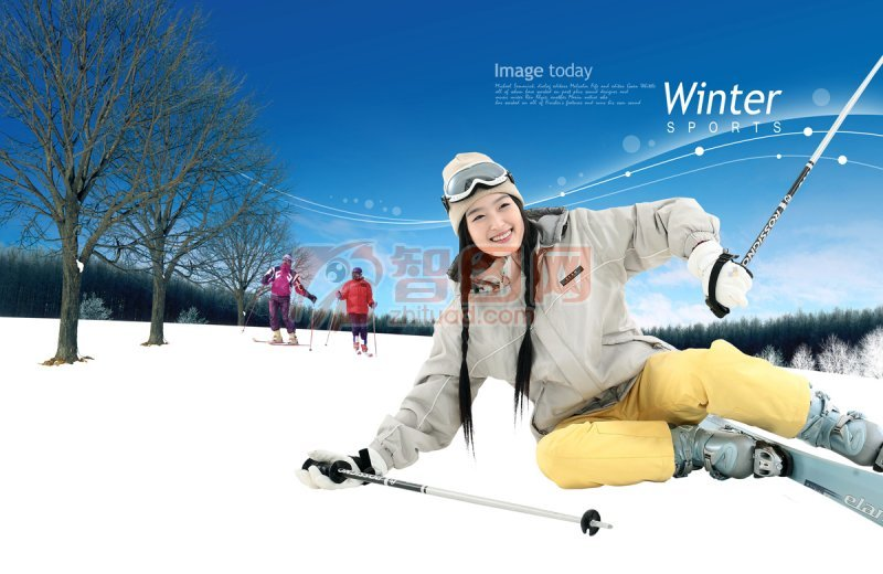 滑雪的美女 远处滑雪的人