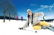 滑雪的美女