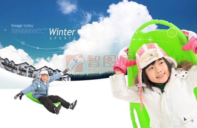 背着绿色滑雪板人孩子