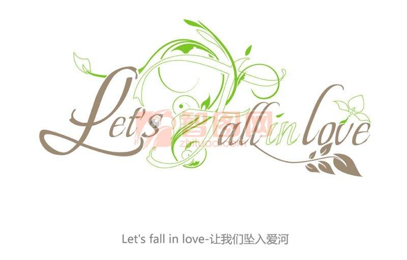 ps分层专区 广告设计 公共标识  关键词: 坠入爱河 字体设计 装饰字体