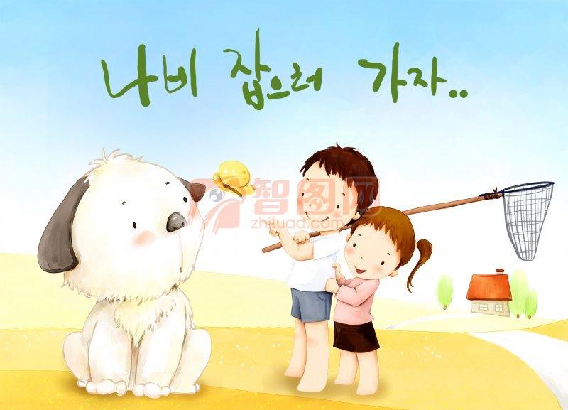 狗 儿童 插画