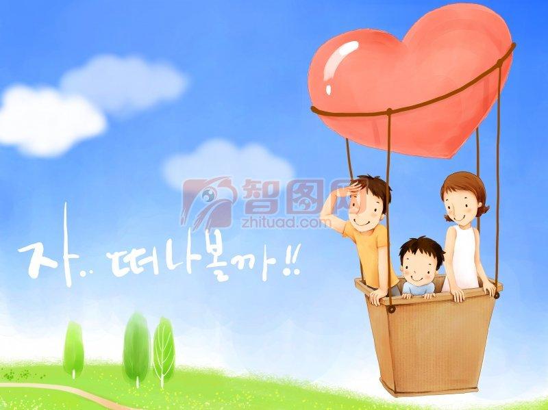 韩国小朋友底纹宣传素材 韩国风格底纹素材 父母 儿童 蓝天 野外 野外