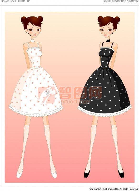 黑色白色衣服女孩