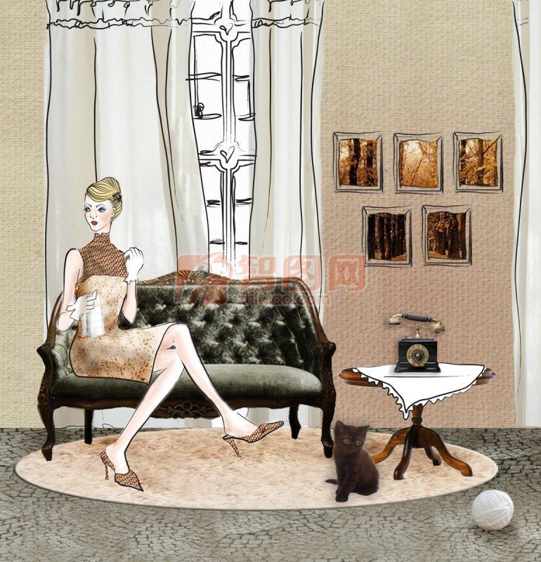 坐在沙发上的女人