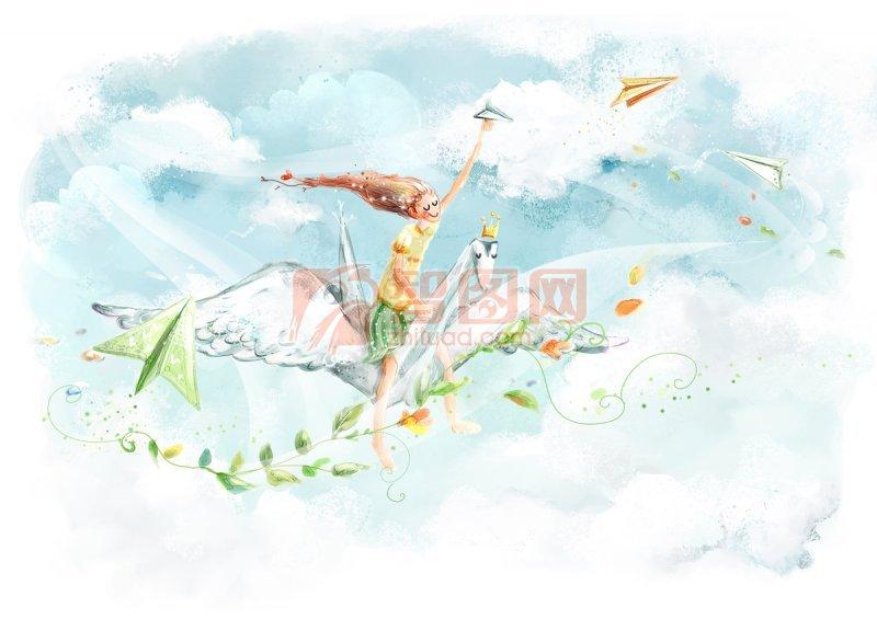 飛翔的女孩素材