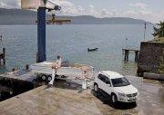 白色Tiguan轿车码头摄影