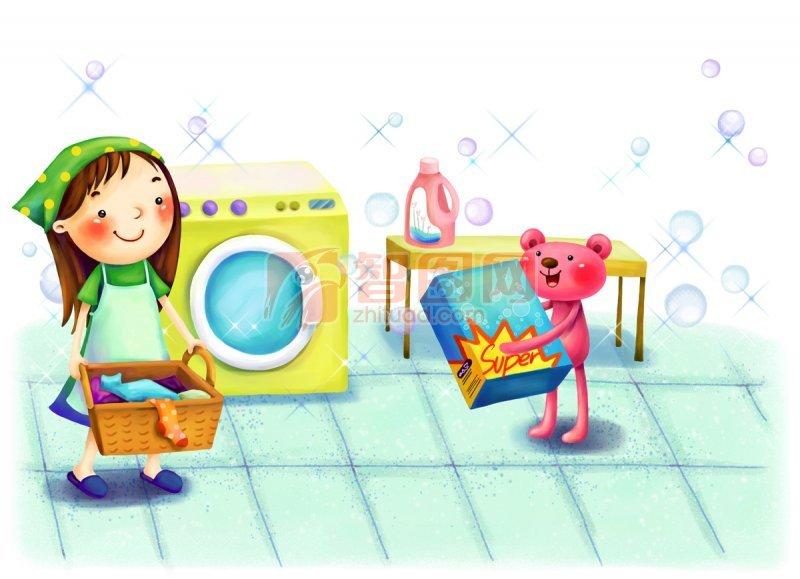 洗衣服简笔画