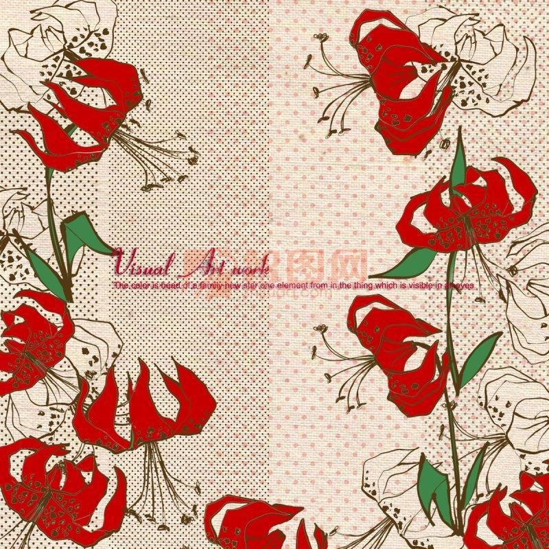 红色花朵美术设计