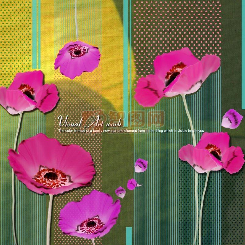 粉紅色花朵美術設計