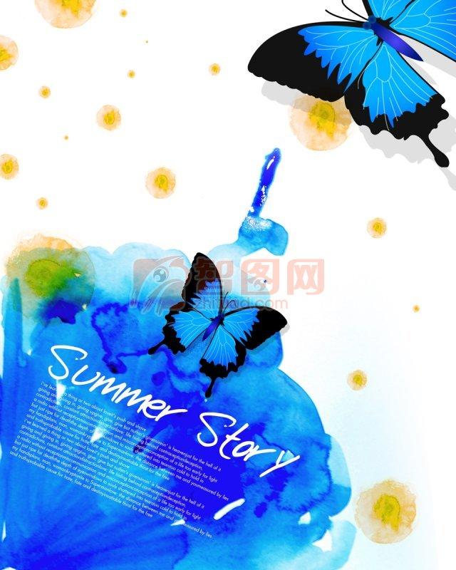 蓝色蝴蝶美术绘画