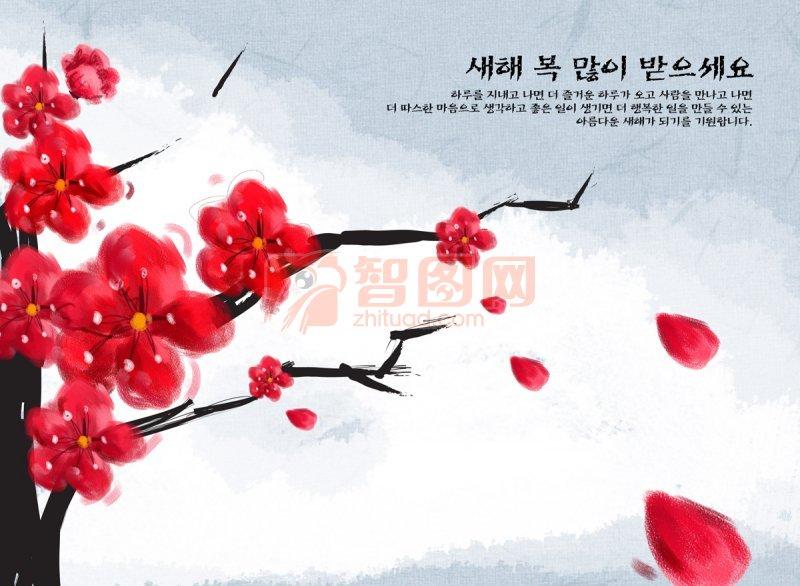 创意水粉画花-红色梅花 201104190641483914