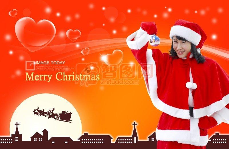 橘红色背景圣诞元素设计