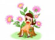坐在樹樁上的小女孩