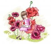 红色花朵上的女孩