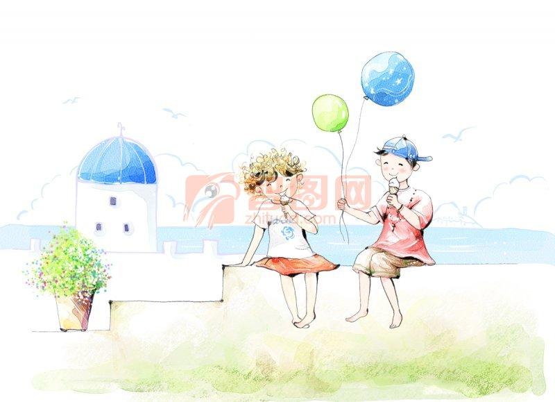 海边女孩彩铅手绘