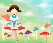 坐在蘑菇上的小女孩