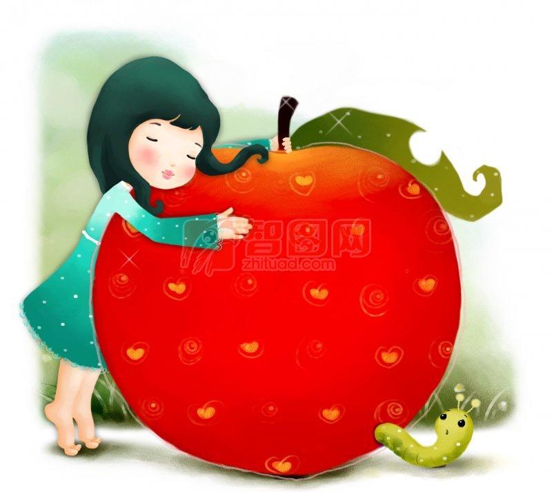 抱着苹果的女孩