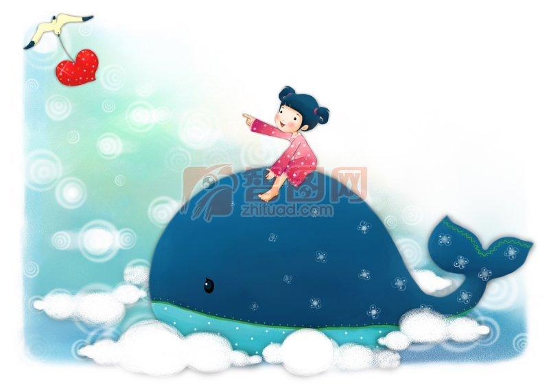 騎在鯨魚身上的女孩