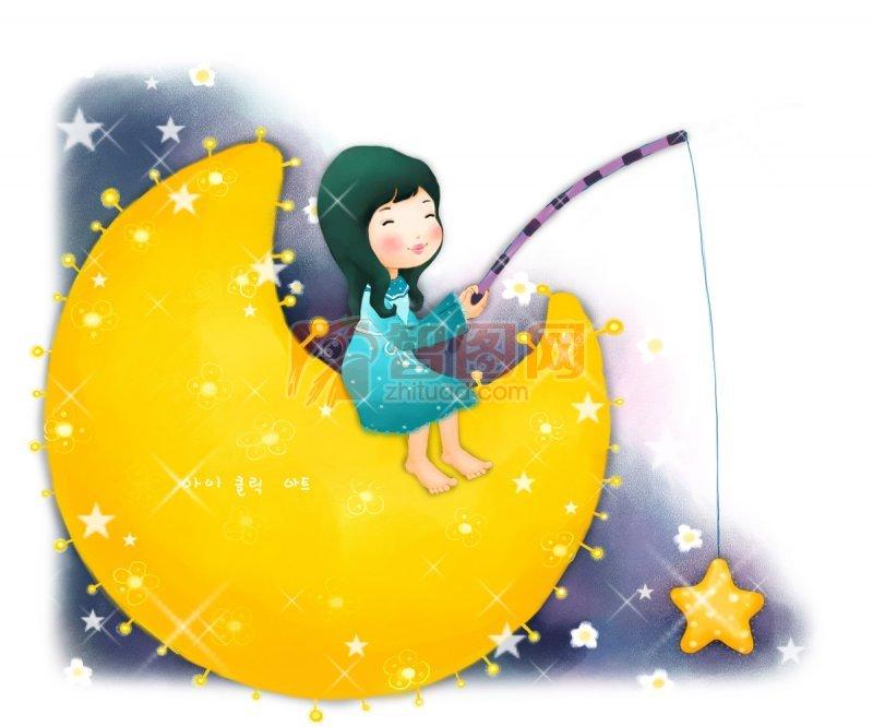 钓星星的小女孩 黄色的月亮