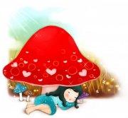 蘑菇下的女孩