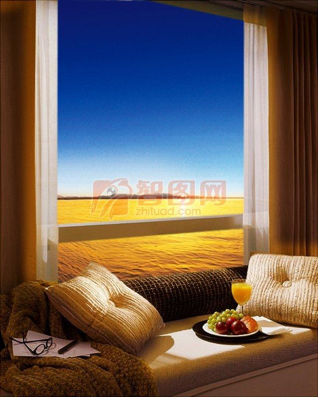 建筑园林 室内摄影  关键词: 窗户外的风景 白色枕头 夕阳风景 金色的