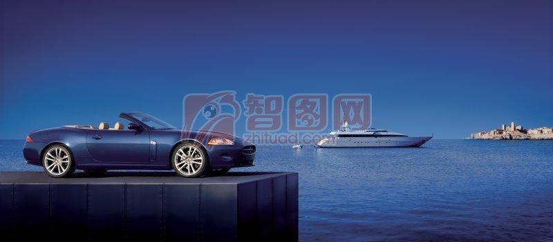 深藍色背景轎車攝影元素