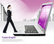 紫色背景商务美女设计