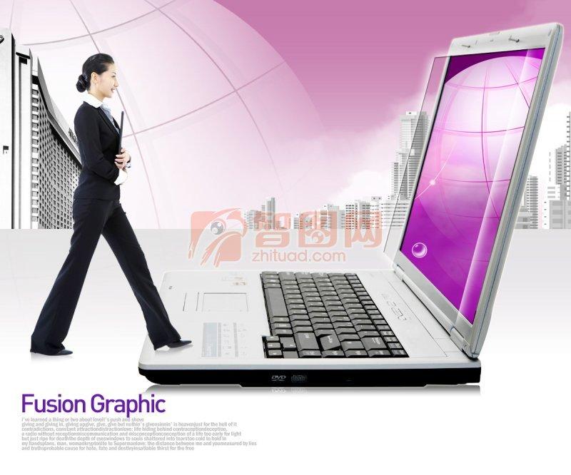 紫色背景商務美女設計