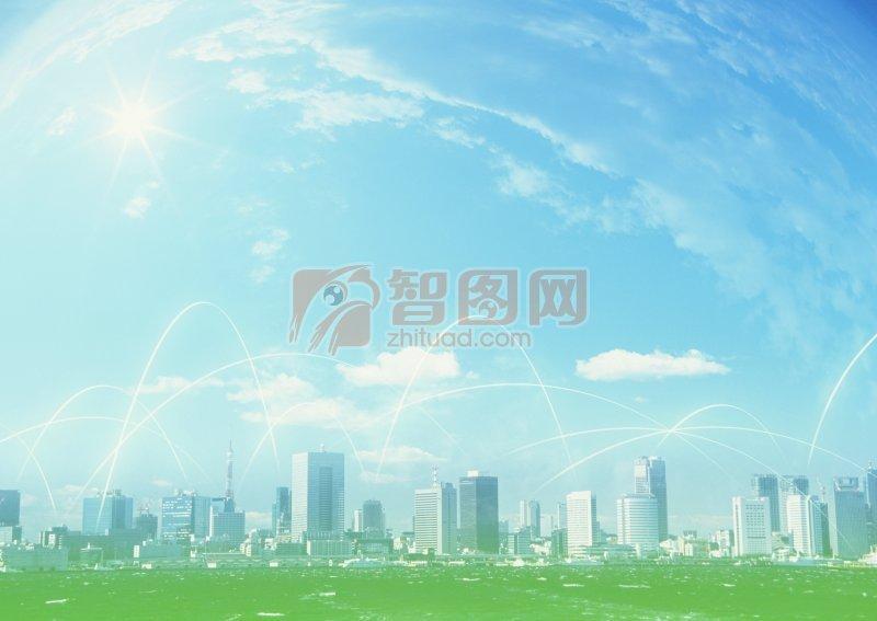 藍天映襯城市
