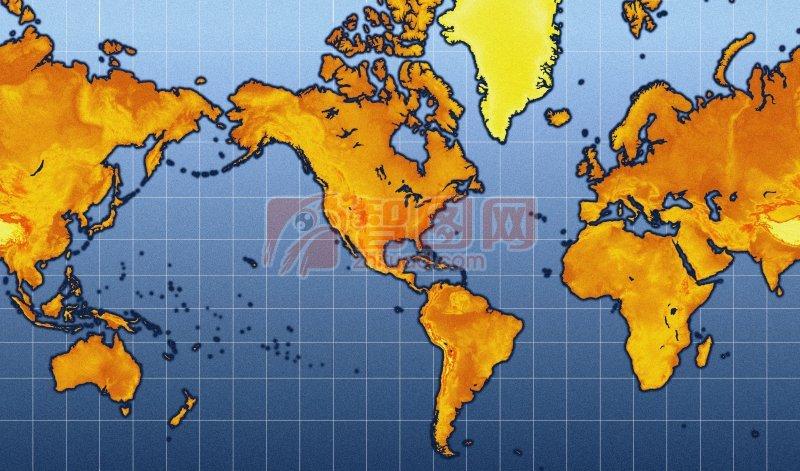 深藍色背景世界地圖