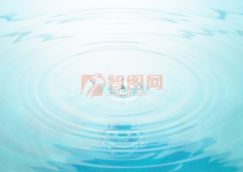 青色背景水波元素