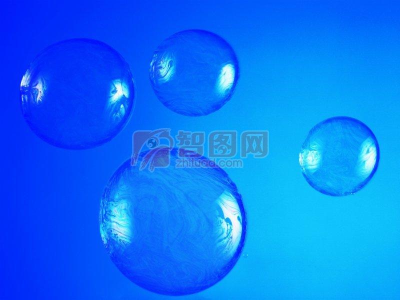 藍色背景水珠元素