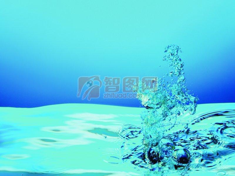 藍色背景水花元素