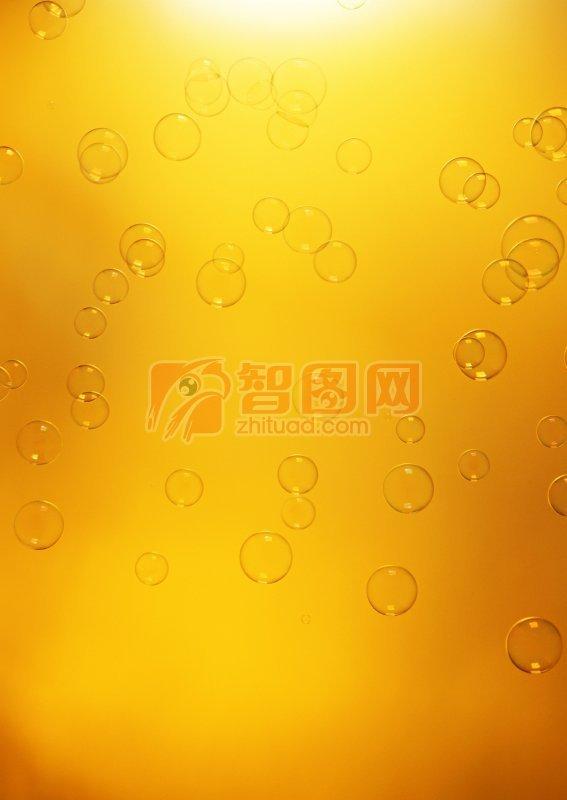 黃色背景泡泡元素