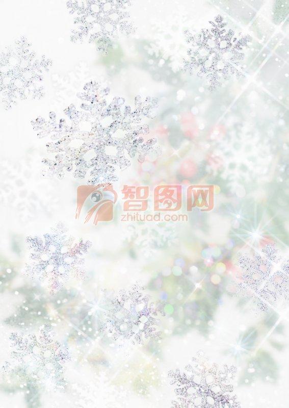 白色背景雪花元素